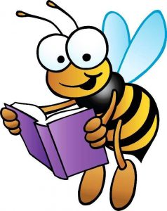 A bee reading a book