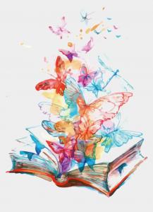 open book with butterflies emerging