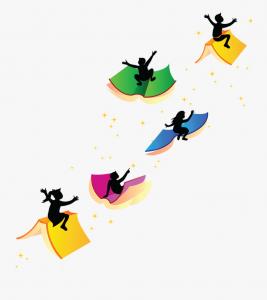 Children on flying books
