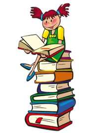 Girl sitting on a stack of books reading.