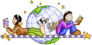 Two children reading in front of a globe.